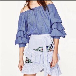 Zara embroidered wrap skirt
